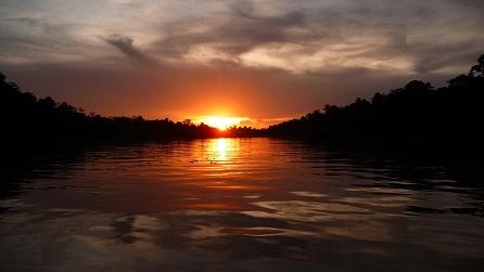 Ondergaande zon op Borneo